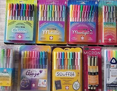 Gelly Roll, Sakura Micron, & Staedtler Pens Lot Of 9 Sets 80 pens ALL NEW!