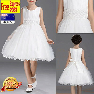 White Tulle Flower Girl Dress Wedding Birthday Party Girls Dress Size 2 to 10
