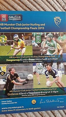 AIB munster club junior hurling&football finals 2015 programme
