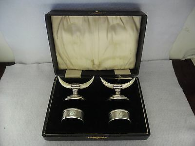 Pair of Novelty Solid Silver Chester Knife Rests & Napkin Rings