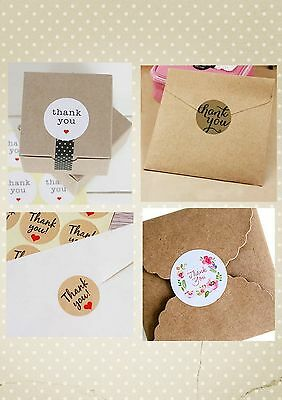 Thank You Sticker Kraft Seal Labels - Wedding / Craft / Favours