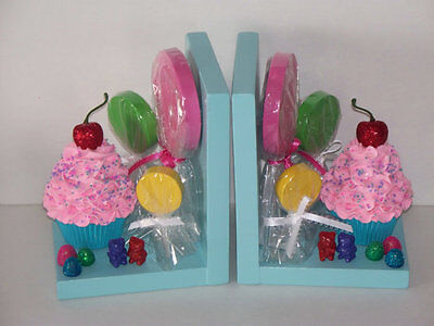Candy Land Fake Cupcake Bookends With Lollipops, Gummy Bears, Gumdrops / Decor