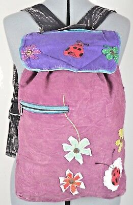 Nepal Handmade Applique Embroidery Cotton Backpack Unique Girls Bag Casual Schoo