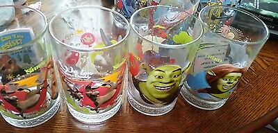 4  Shrek  McDonalds Drinking Glasses and 4 other McDonald's glasses