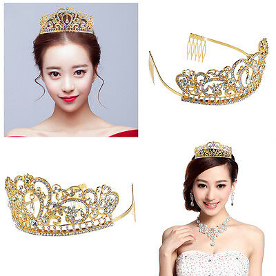 Tiara Comb & Rhinestones Crystal Bridal Headband Pageant Princess Crown Gold