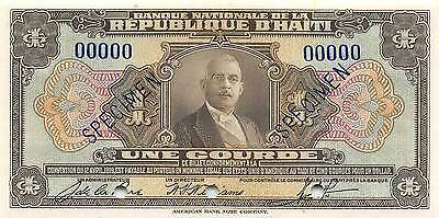 Haiti 1 Gourde  ND. 1935  P 167s Specimen Rare Uncirculated Banknote