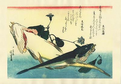 Japanese Reproduction Woodblock-Fishes #92 by Ando Hiroshige on Parchment Paper