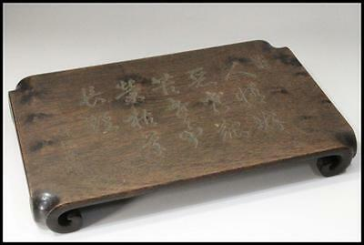 Japanese woodenChinese poetry sculpture decorative stand / display board bonsai