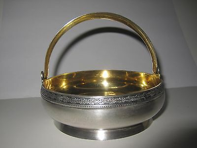 Vintage Russian Sterling Silver Gilt Sugar Bowl Candy Basket