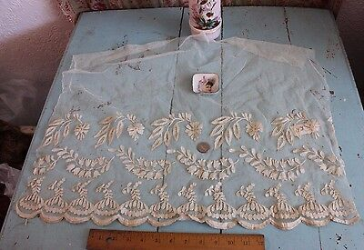 Lovely French 19thC Appliqued Net Lace Handmade Ecru Flounce~Dolls, Bridal