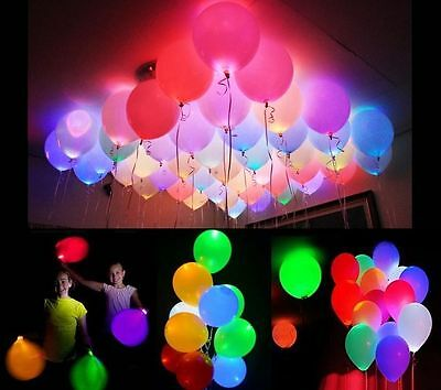 10 PZ Palloncini led LUMINOSI eventi feste COLORI ASSORTITI Luminosi Balloons