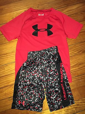 Boys Kids Under Armour Red Black Shorts Shirt Summer Outfit Size 6 EUC