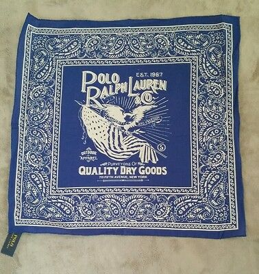 "Ralph Lauren Polo Bandana 20"" x 20"" NWT Royal Blue"