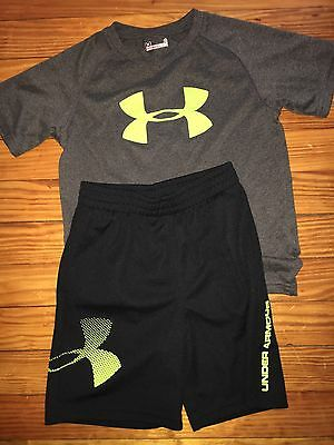 Boys Kids Under Armour Black Shorts Neon Lime Shirt Summer Outfit Size 5-6 EUC