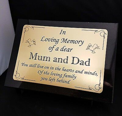 Personalised Black Granite Memorial Plaque Headstone Mum and Dad (any name)