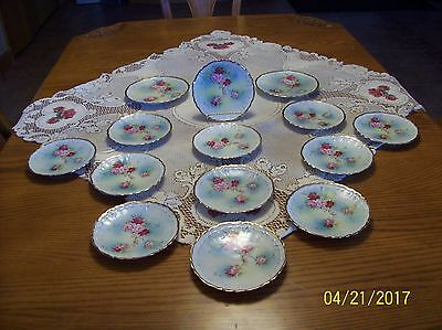 Weimar Germany Porcelain China Vtg. Signed By Artist 12 Dessert & 2 Salad Plates