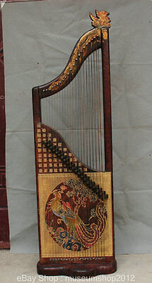 "57"" Chinese Rosewood Painting Miao Gold Phoenix Musical Instrument Zither Koto"