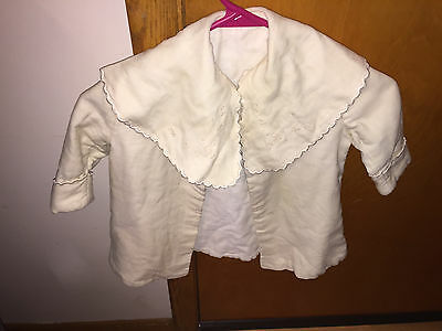 Vintage Childrens White Coat With Embrodered Collar