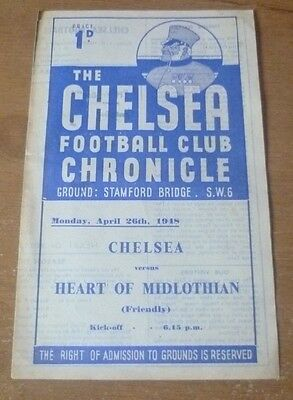 Chelsea v Hearts, 1947/48 - *Rare* Friendly Match Programme.