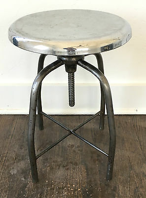 1940's Vintage Industrial Medical Dental Drafting Stool, Raw Metal  & Chrome