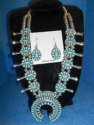 Zuni Turquoise & Coral double squash blossom w earrings ABA - 15561