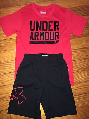Boys Kids Under Armour Black Shorts Red Shirt Summer Outfit Size 4