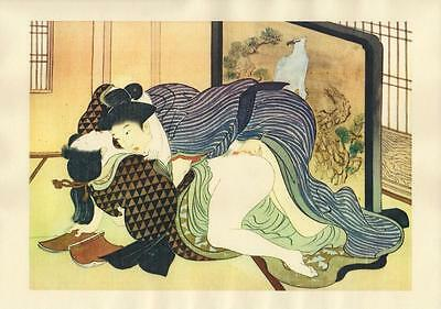 Japanese Reproduction Woodblock Print Shunga Style 6# Erotic  A4 Parchment Paper