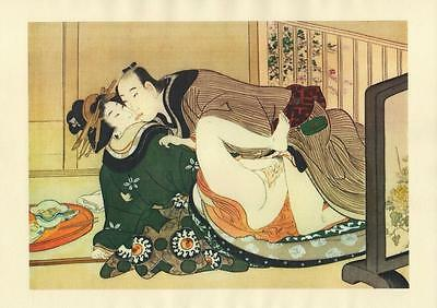 Japanese Reproduction Woodblock Print Shunga Style 10# Erotic A4 Parchment Paper