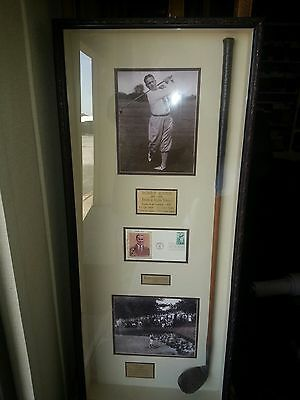 Bobby Jones PGA Golfer Framed Club, Pictures, and First Day Of Issue Stamp