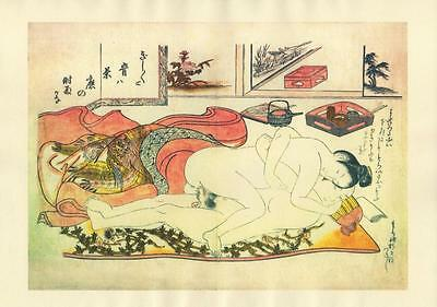 Japanese Reproduction Woodblock Print Shunga Style 14# Erotic A4 Parchment Paper