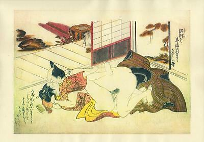 Japanese Reproduction Woodblock Print Shunga Style 16# Erotic A4 Parchment Paper