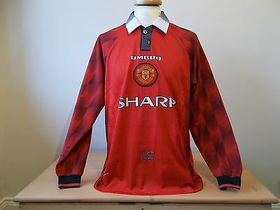Manchester United Football Shirt Jersey Umbro 1996 Rare Long Sleeves Large Mens