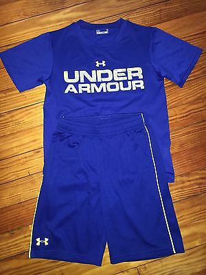 Boys Under Armour Blue Lime Shorts Shirt Summer Outfit Size 7 Youth XS