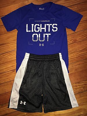 Boys Under Armour Black Shorts Blue Shirt Summer Outfit Size 7 Youth XS