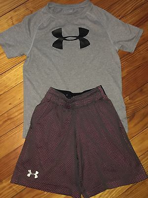 Boys Under Armour Grey Shorts Grey Logo Shirt Summer Outfit Size 7 Youth XS
