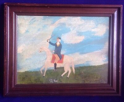 Rare Antique American Folkart Portrait Painting Of George Washington On Horse