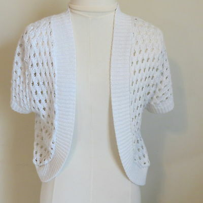 Open Front Cardigan Sweater White Knit Short sleeve cropped Junior L M shrug