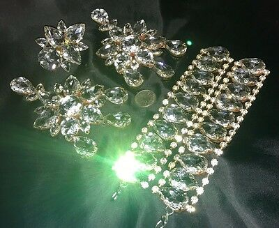 CLEAR CRYSTAL DRAG QUEEN Pageant PROM Chandelier Earrings Bracelets Ring SET