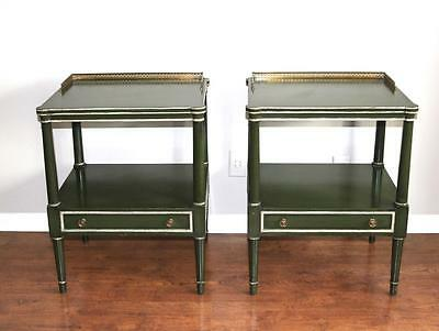 A Pair of Nahon Furniture Green Nightstands Side Tables c1960 Directoire Brass