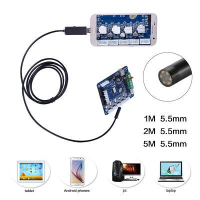1M/2M/5M Endoskop Inspektionskamera USB Wasserdicht LED 5mm/7mm für Android PC