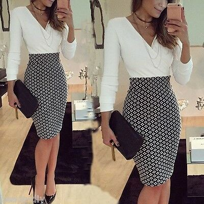 2017 Women Fashion V Neck Party Long Sleeve Bodycon Formal Lady Pencil Dress GW
