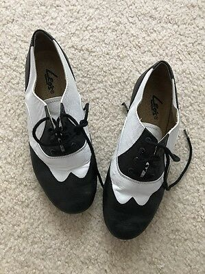 Leo's Black/White Giordano Spectator Child size 4 Leather Lace-Up Tap Shoes