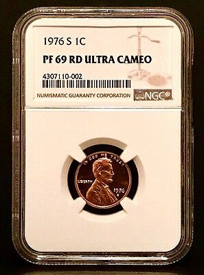 1976-S Proof Lincoln 1C NGC PF-69RD UCAM - Superb Eye Appeal - Guide: $130