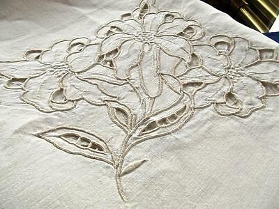 Antique Linen Banquet 64x108 Tablecloth Madeira Cutwork Richelieu Large Lilies
