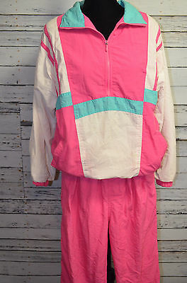 Vintage Lavon Pink Athletic Tracksuit Jacket Pants Windbreaker Nylon Size Large