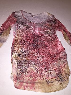 Womens Maternity Top By MOTHERHOOD Pink Purple Sequins Size LSIZE L