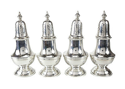 4 Early American Reproduction Sterling Silver Salt & Pepper Shakers #8909