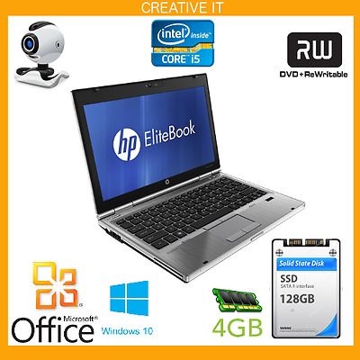 "FAST HP Elitebook Laptop 2560p 12.5"" LAPTOP i5 2.7GHz 4GB RAM 128GB SSD WIN 10"