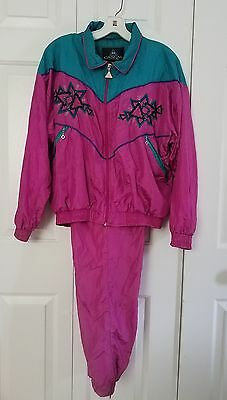 Vtg 80s CASUAL ISLE Color Block Size Small Windbreaker Track Suit Jacket Pants