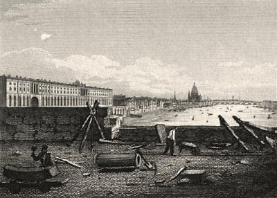 London from the Strand (ie. Waterloo) Bridge. Antique engraved print 1817